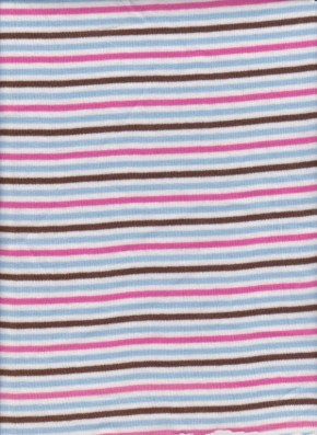 Yarn Dyed Stripe Rib Lycra- Baby Blue, Brown, White Fuchsia