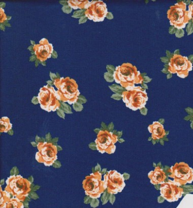 Yellow Tiny Florals on Navy Double Brushed Poly Lycra