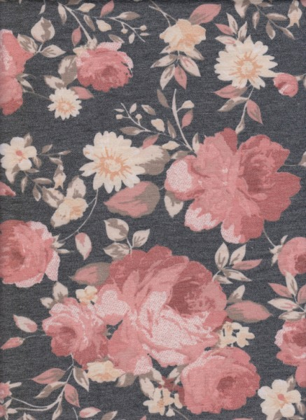 Florals on Charcoal  Rayon Poly Lycra French Terry